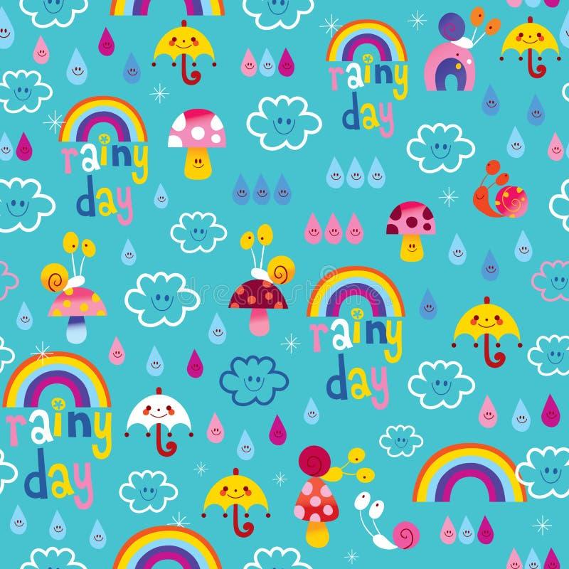 Modello senza cuciture del cielo delle lumache delle gocce di pioggia degli ombrelli degli arcobaleni di giorno piovoso royalty illustrazione gratis