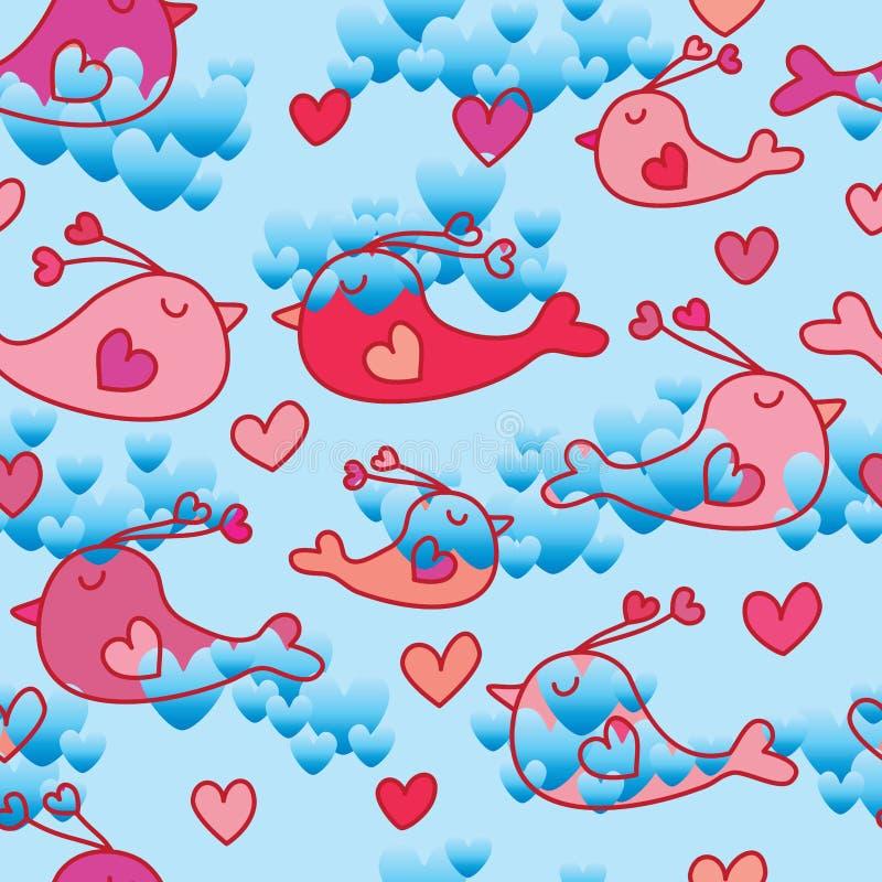 Modello senza cuciture del cielo di amore dell'uccello di amore royalty illustrazione gratis