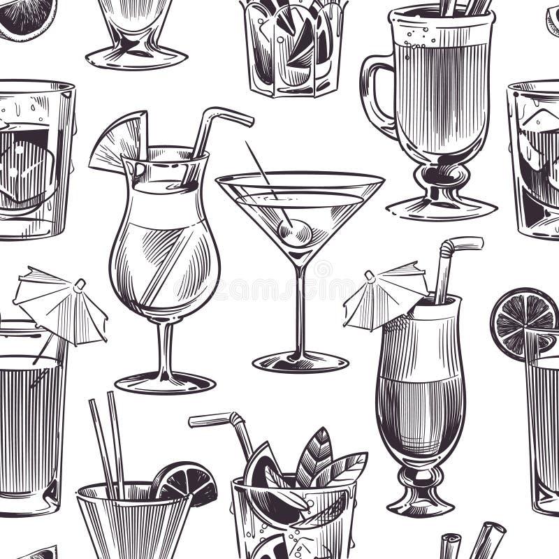 Modello senza cuciture del cocktail I cocktail e gli alcool disegnati a mano bevono con differenti bicchieri di vino, menu della  illustrazione di stock