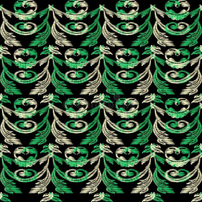 Modello senza cuciture del confine di vettore barrocco verde del ricamo Tapestr royalty illustrazione gratis