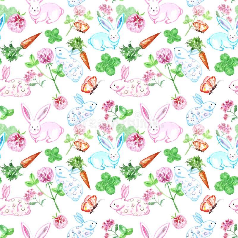 Modello senza cuciture del coniglietto sveglio dell'acquerello Piccoli conigli del bambino con la carota, la farfalla ed il trifo illustrazione vettoriale