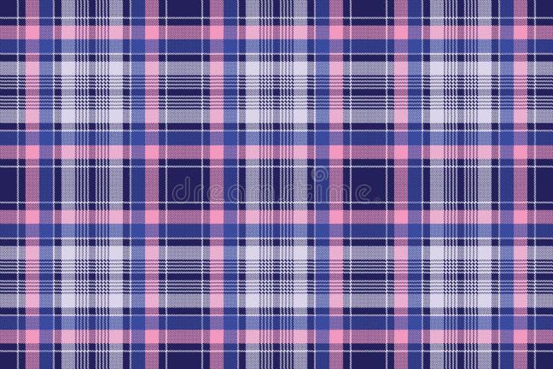 Modello senza cuciture del controllo del pixel rosa blu del plaid illustrazione di stock
