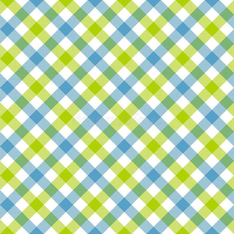 Modello senza cuciture del controllo del plaid di struttura verde blu bianca del tessuto illustrazione di stock