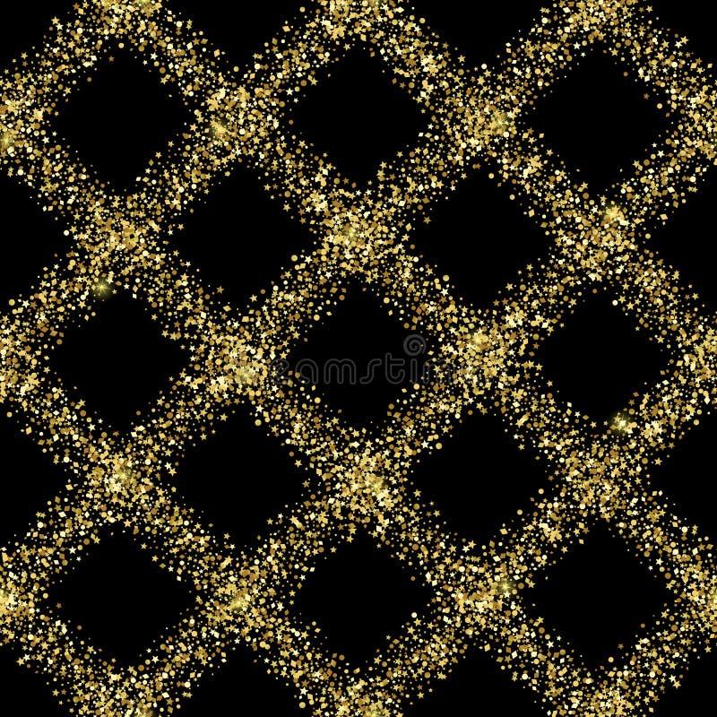 Modello senza cuciture del controllo diagonale dorato di lusso di scintillio illustrazione vettoriale
