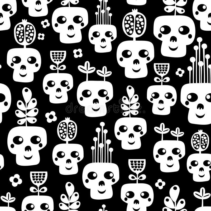 Modello senza cuciture del cranio divertente con i fiori. illustrazione di stock