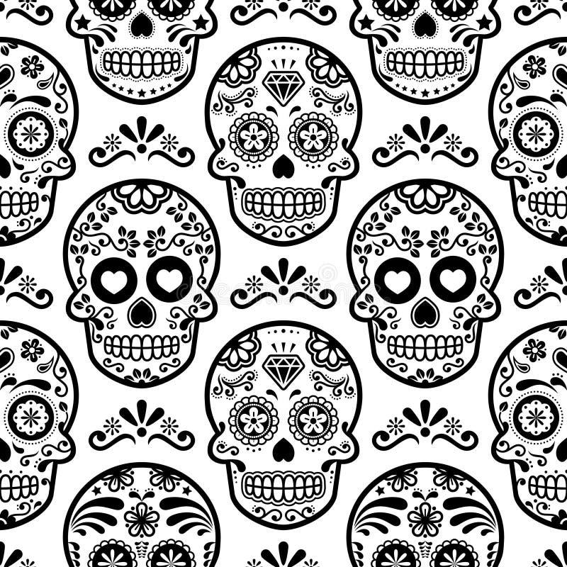 Modello senza cuciture del cranio messicano dello zucchero, crani fondo, giorno della celebrazione morta, progettazione della car royalty illustrazione gratis