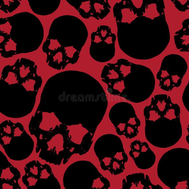 Modello senza cuciture del cranio umano nero e rosso illustrazione vettoriale
