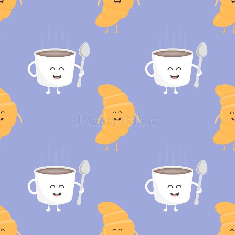 Modello senza cuciture del croissant e del caffè Modello per il ristorante del menu dei bambini Illustrazione di vettore royalty illustrazione gratis