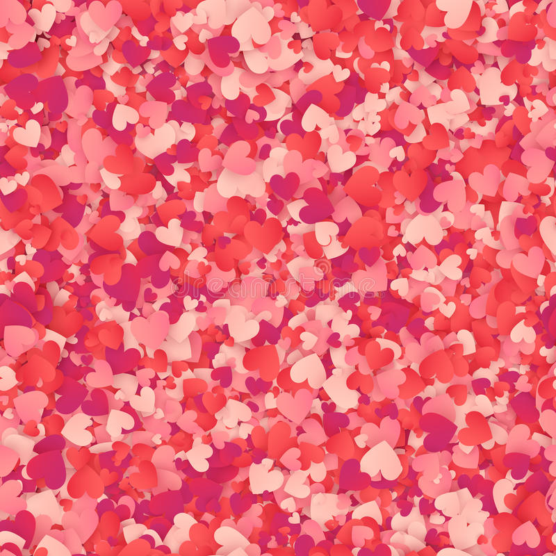Modello senza cuciture del cuore dei coriandoli rossi e rosa di forma illustrazione vettoriale