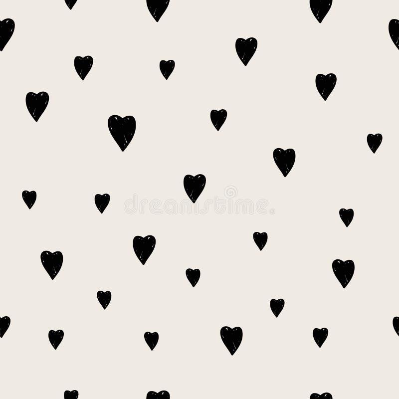 Modello senza cuciture del cuore disegnato a mano illustrazione di stock