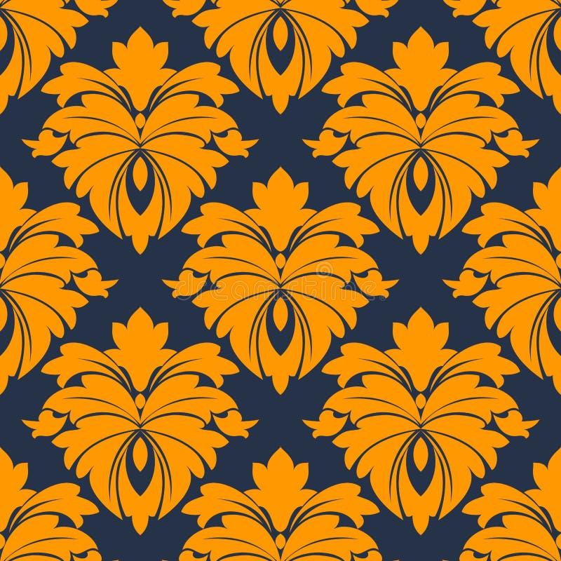 Modello senza cuciture del damasco in blu ed in arancio illustrazione di stock