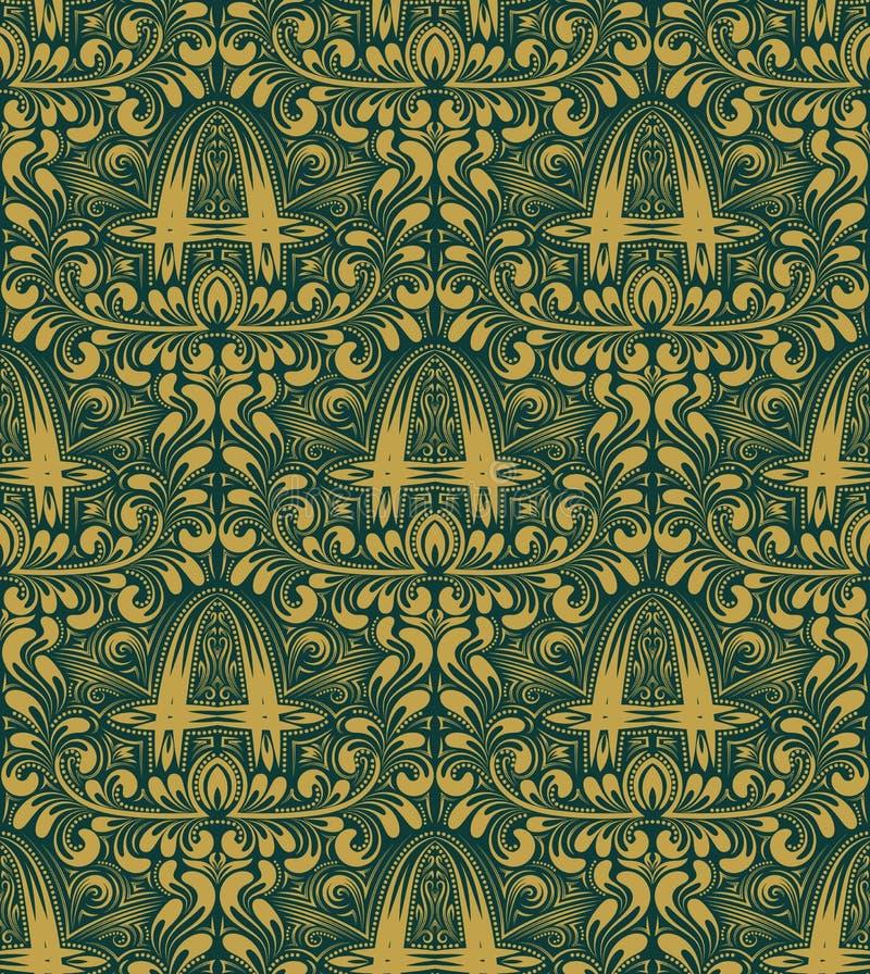 Modello senza cuciture del damasco che ripete fondo Ornamento floreale del turchese dell'oro con la lettera di A nello stile barr illustrazione vettoriale