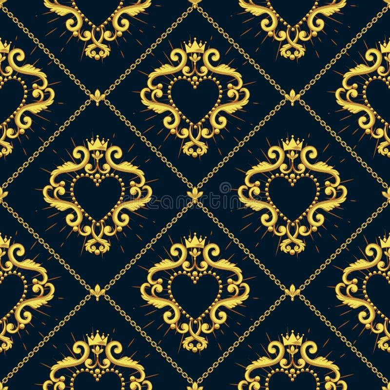 Modello senza cuciture del damasco con bello cuore rosso ornamentale s con la corona su fondo nero Illustrazione di vettore illustrazione di stock