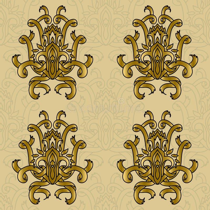 Modello senza cuciture del damasco di vettore retro Ornamento del nastro della curva Progettazione di lusso elegante royalty illustrazione gratis