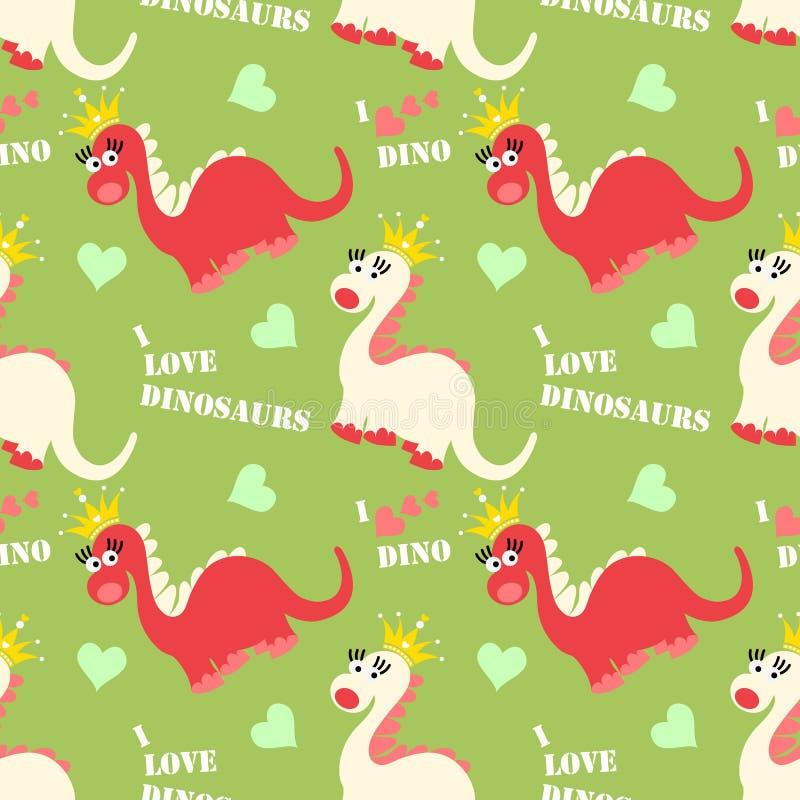 Modello senza cuciture del dinosauro sveglio Fondo adorabile dei dinosauri del fumetto illustrazione di stock