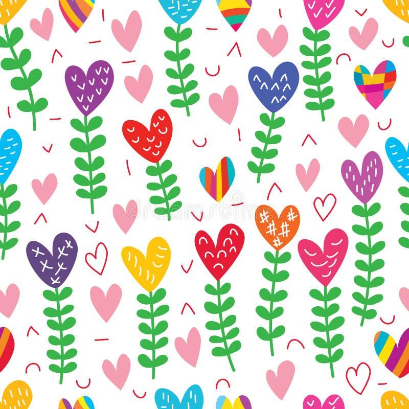 Modello senza cuciture del disegno libero della pianta di amore illustrazione di stock
