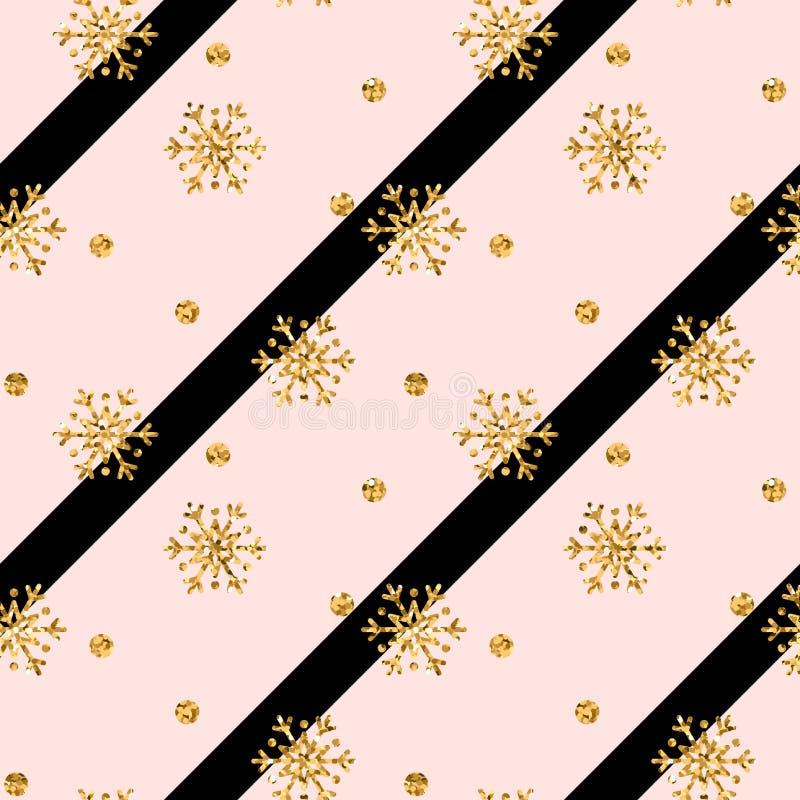 Modello senza cuciture del fiocco di neve dell'oro di Natale I fiocchi di neve dorati di scintillio sulla diagonale nera rosa all illustrazione di stock