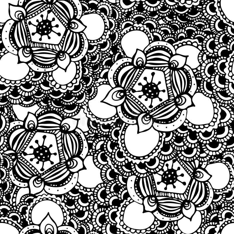 Modello senza cuciture del fiore astratto disegnato a mano illustrazione di stock