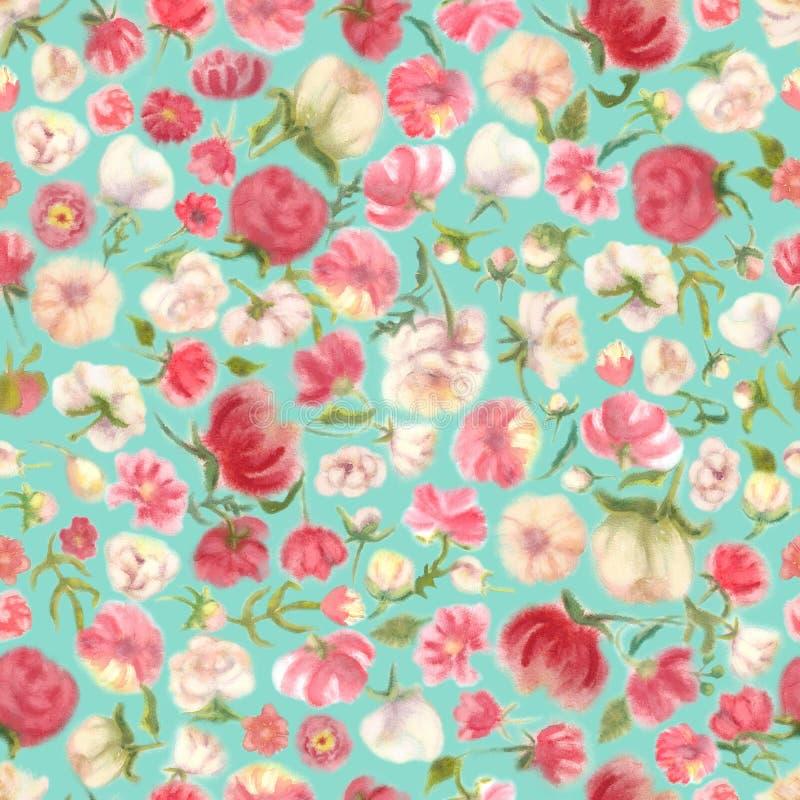 Modello senza cuciture del fiore dell'acquerello, sfuocatura floreale illustrazione di stock