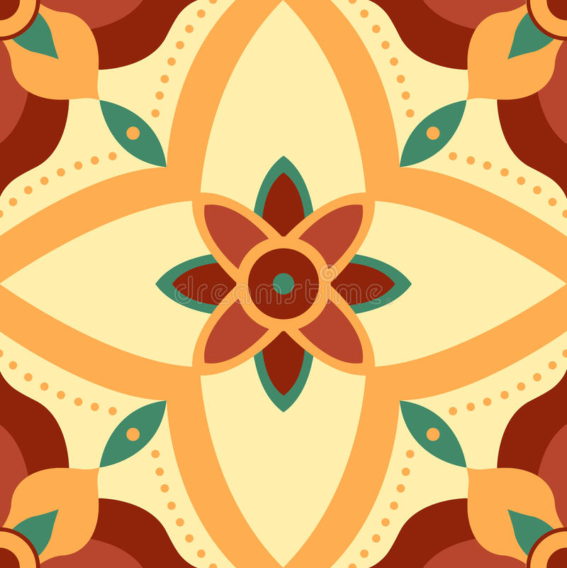 Modello senza cuciture del fiore di simmetria per le mattonelle immagine stock