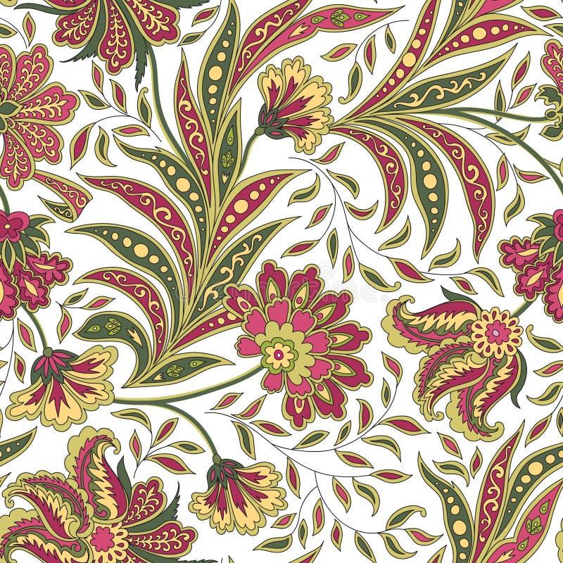 Modello senza cuciture del fiore e della foglia floreale Ramo astratto con le foglie illustrazione vettoriale