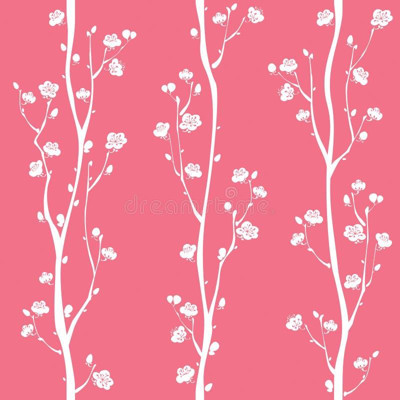 Modello senza cuciture del fiore orientale della prugna - Modello di base del fiore ...