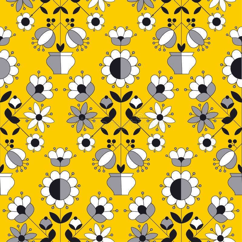 Modello senza cuciture del fiore piega giallo semplice di stile illustrazione di stock
