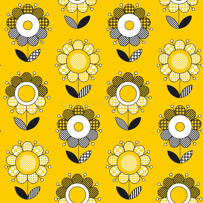 Modello senza cuciture del fiore piega giallo semplice di stile illustrazione vettoriale