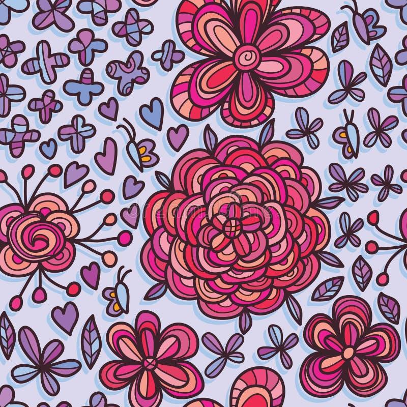 Modello senza cuciture del fiore sconosciuto della farfalla royalty illustrazione gratis