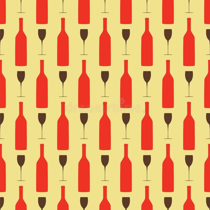 Modello senza cuciture del fondo con la bottiglia ed il bicchiere di vino illustrazione vettoriale