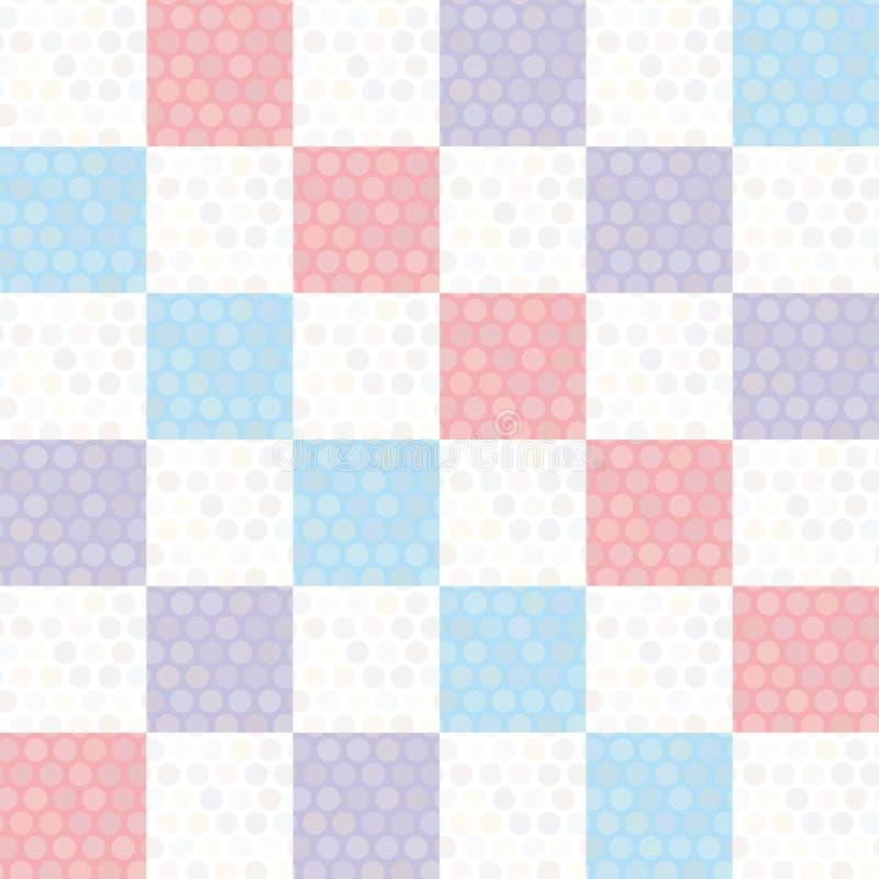 Modello senza cuciture del fondo del pois con il quadrato blu lilla rosa Vettore illustrazione di stock