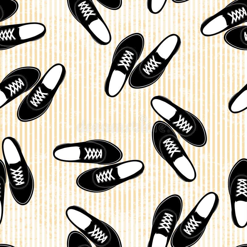 Modello senza cuciture del fondo dell illustrazione delle scarpe da tennis