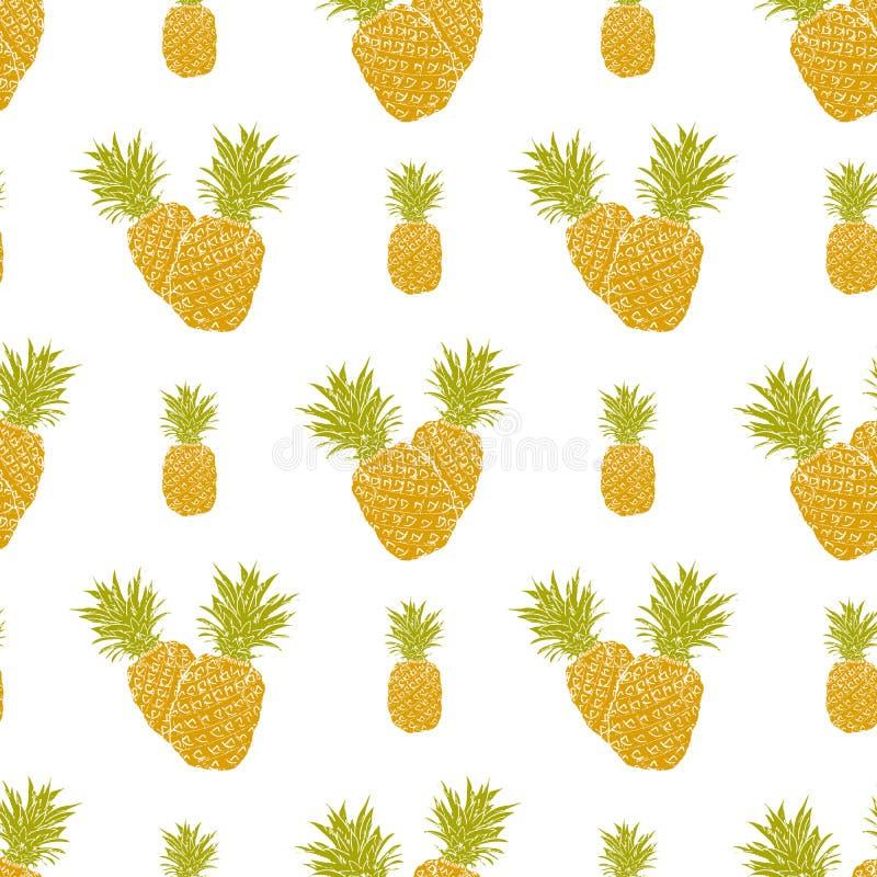 Modello senza cuciture del fondo della frutta con l'illustrazione disegnata a mano di vettore dell'ananas di schizzo illustrazione di stock