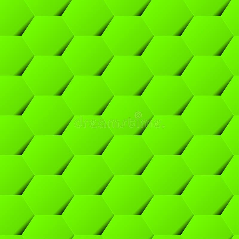 Modello senza cuciture del fondo geometrico verde di esagono con ombra royalty illustrazione gratis
