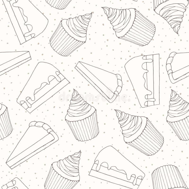 Modello senza cuciture del forno disegnato a mano di vettore con i pezzi del dolce e la c illustrazione di stock
