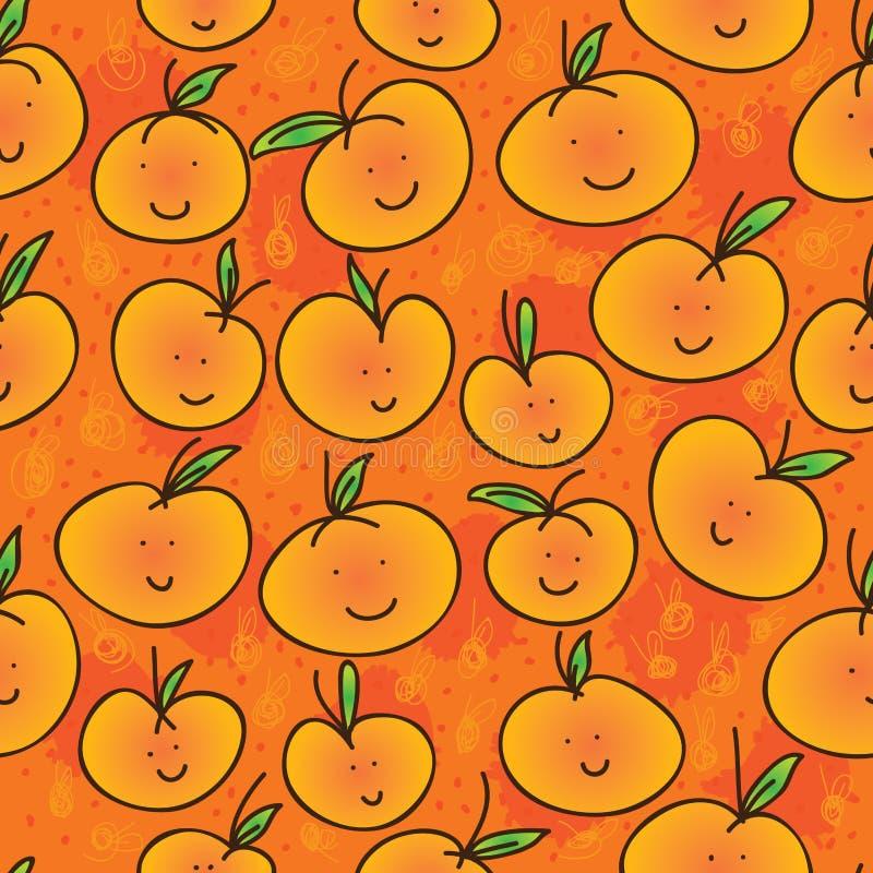 Modello senza cuciture del fumetto del mandarino illustrazione di stock