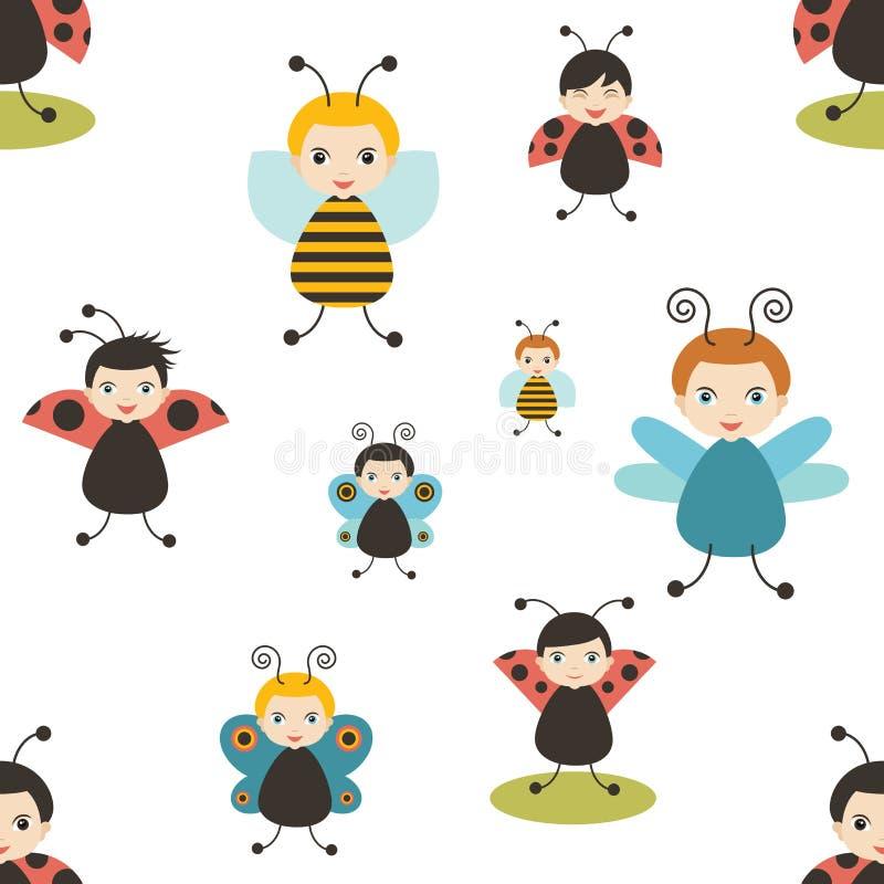 Modello senza cuciture del fumetto di Beatles Ape, farfalla, coccinella Bambino, bambino, progettazione del bambino royalty illustrazione gratis