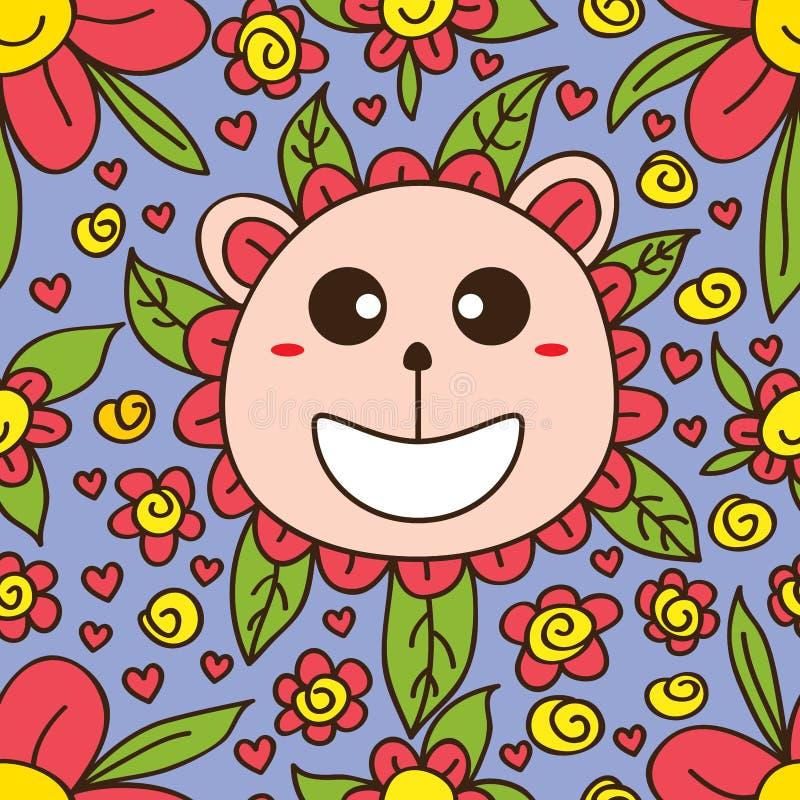 Modello senza cuciture del fumetto sveglio del fiore dell'orso illustrazione di stock