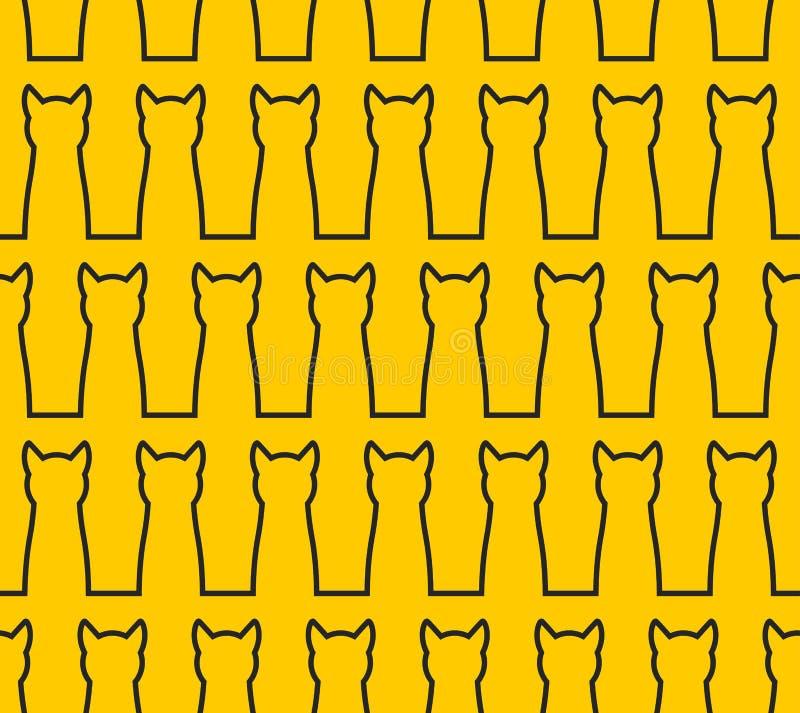 Modello senza cuciture del gatto lineare della siluetta Fondo dell'animale domestico Blac royalty illustrazione gratis
