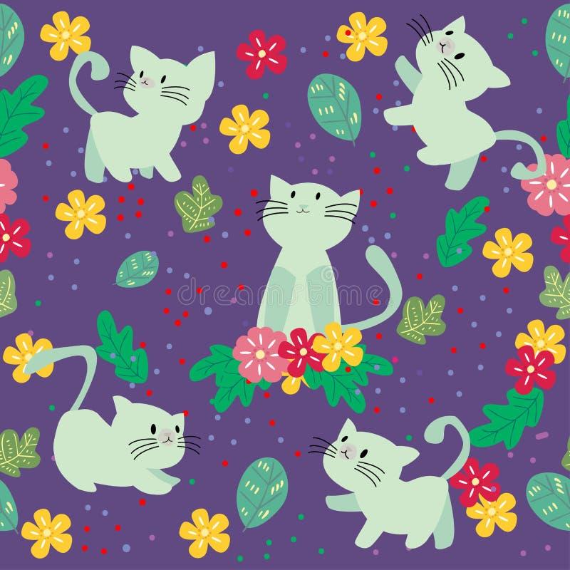 Modello senza cuciture del gatto sveglio con il fiore sull'illustrazione variopinta di vettore del fondo Stile del fumetto immagini stock libere da diritti