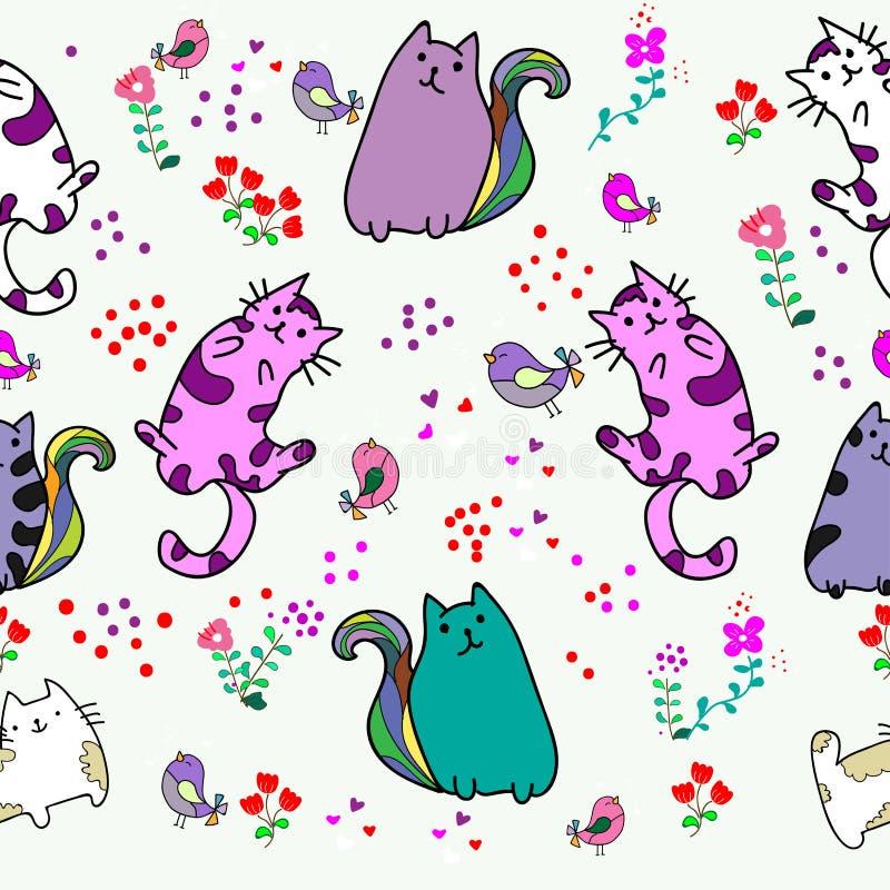 Modello senza cuciture del gatto sveglio con il fiore sull'illustrazione variopinta di vettore del fondo stile del fumetto di sca fotografia stock libera da diritti