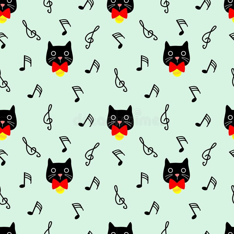 Modello senza cuciture del gatto sveglio con il fondo della nota musicale illustrazione di stock