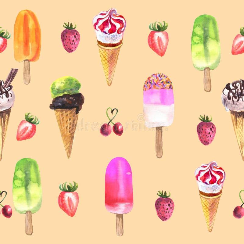 Modello senza cuciture del gelato dell'acquerello sull'arancia illustrazione di stock