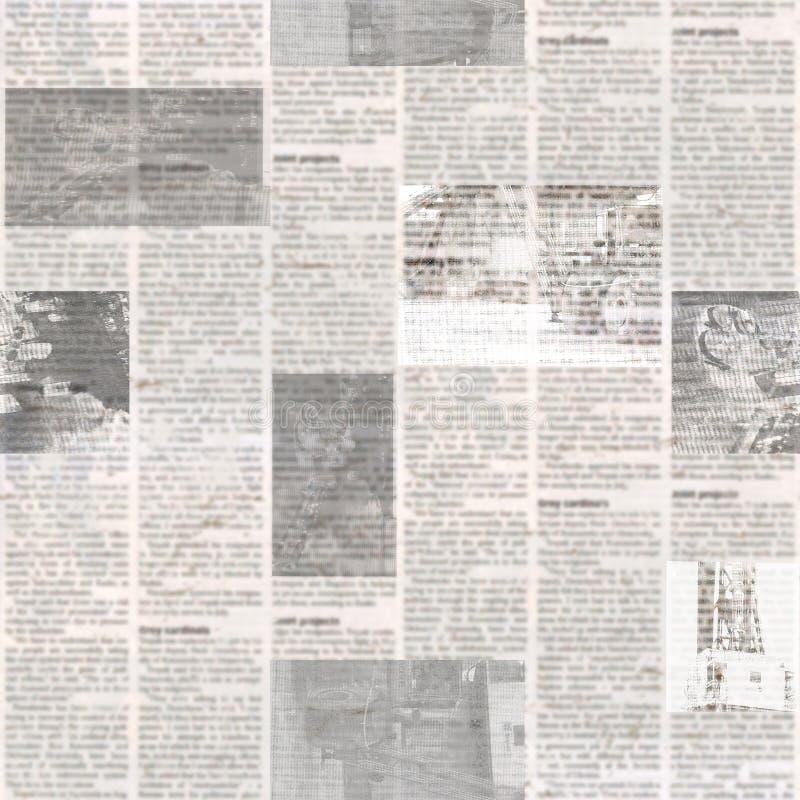 Modello senza cuciture del giornale con il vecchio fondo di carta illeggibile d'annata di struttura fotografie stock