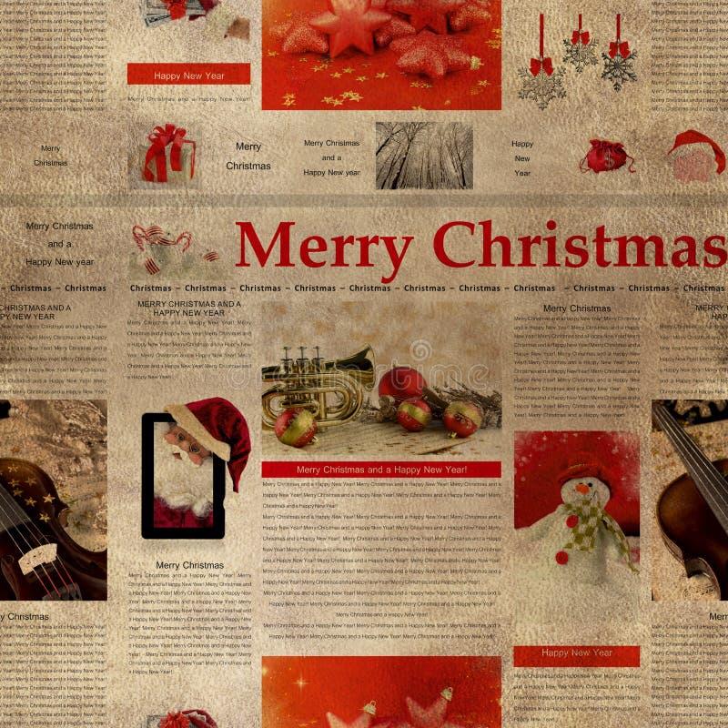 Modello senza cuciture del giornale di Natale illustrazione di stock
