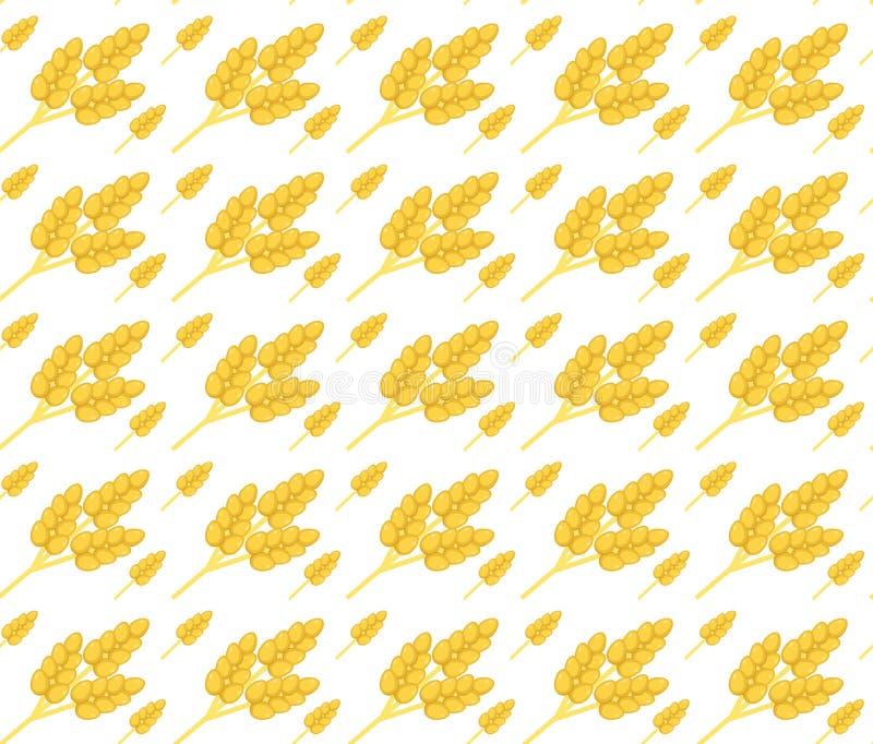 Modello senza cuciture del grano Cereale, struttura senza cuciture delle orecchie Fondo delle orecchie del grano Illustrazione di illustrazione di stock