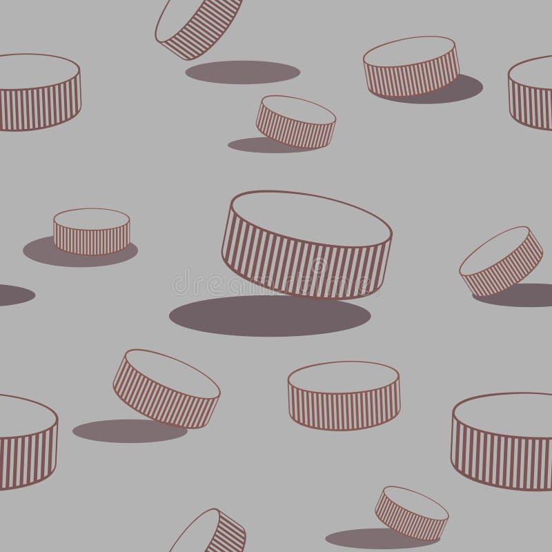 Modello senza cuciture del hockey su ghiaccio con dischi del disegno a tratteggio illustrazione di stock