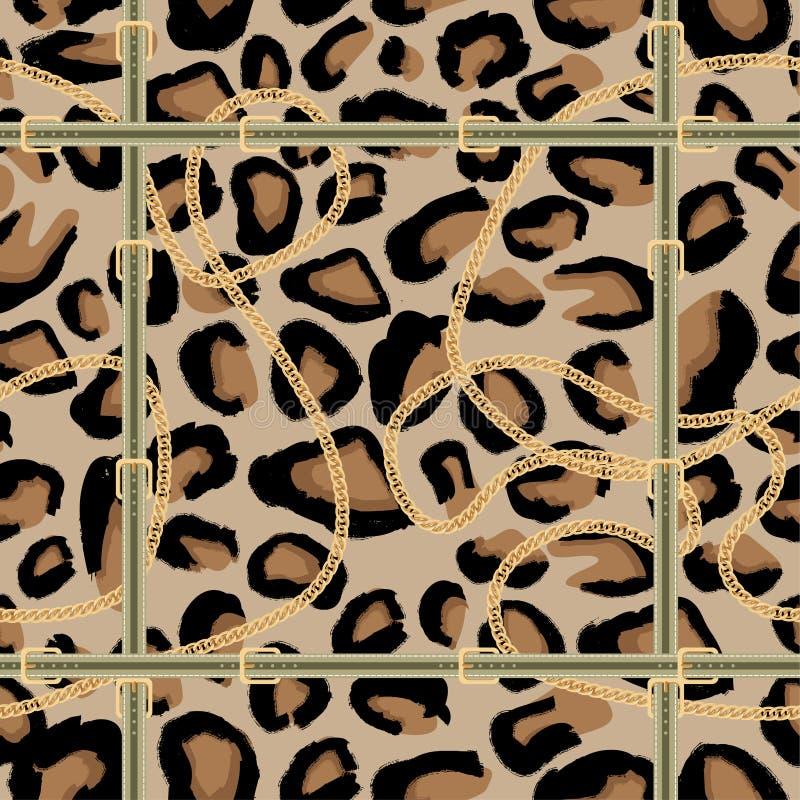Modello senza cuciture del leopardo con la catena dorata e la cinghia illustrazione di stock