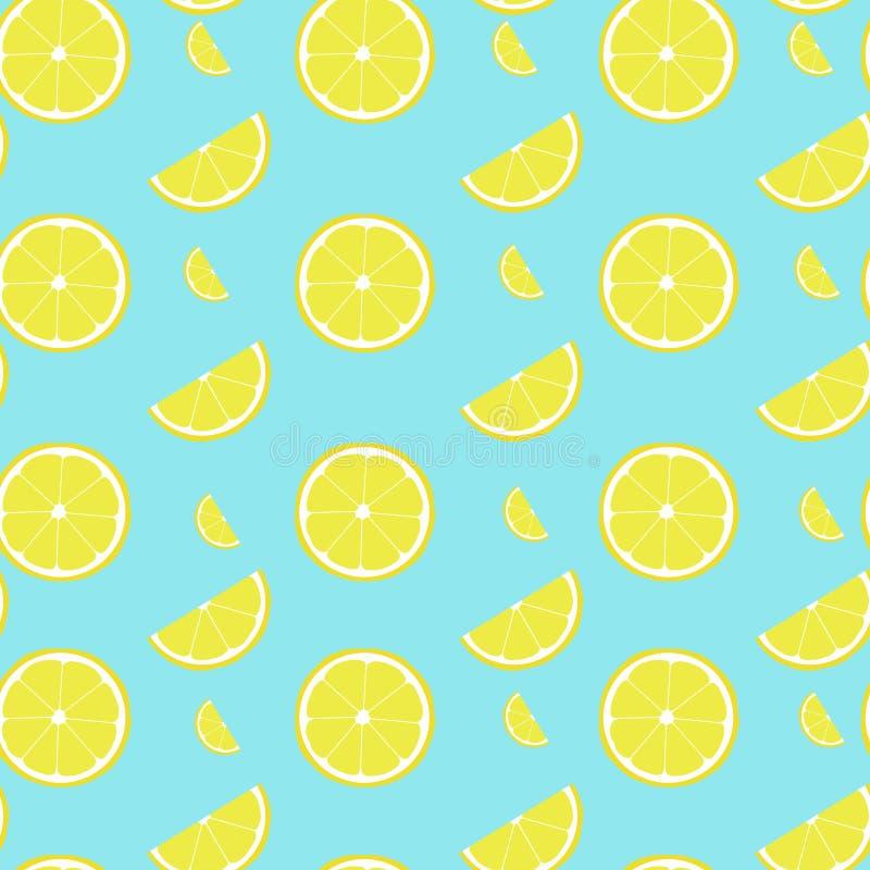 Modello senza cuciture del limone con la metà e la fetta immagine stock