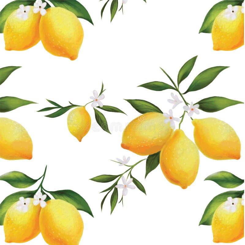 Modello senza cuciture del limone dell'acquerello di Handdrawing illustrazione vettoriale